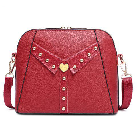 Collar Detail Rivet Crossbody Bag - Red