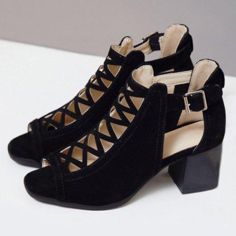 Discount Hollow Out Suede Block Heels Sandals - 41 BLACK Mobile