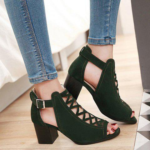 Online Hollow Out Suede Block Heels Sandals ARMY GREEN 38