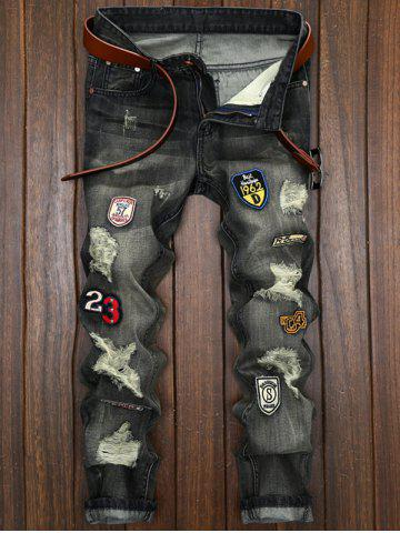 Buy Patched Destroyed Straight Leg Jeans - 38 BLACK Mobile