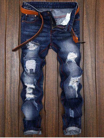 Best Ripped and Repaired Straight Leg Slim Fit Jeans - 40 DENIM BLUE Mobile