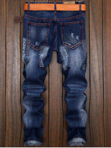 Shops Ripped and Repaired Straight Leg Slim Fit Jeans - 40 DENIM BLUE Mobile