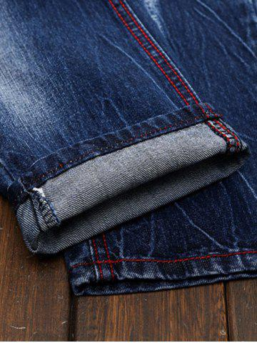 New Ripped and Repaired Straight Leg Slim Fit Jeans - 40 DENIM BLUE Mobile