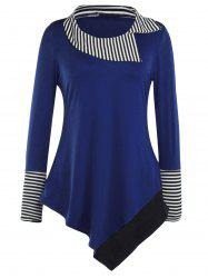 Striped Hem Asymmetric Long T-Shirt