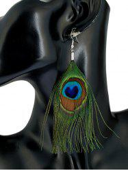 Ethnic Peacock Feather Drop Earrings