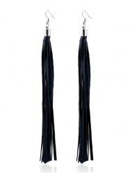Faux Leather Tassel Drop Earrings