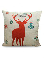 Merry Christmas Deer Printed Sofa Decorative Pillow Case - BEIGE