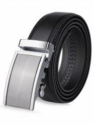 Metal Polish Auto Buckle Leather Belt - BLACK
