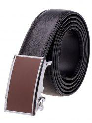 Rectangle Metal Auto Buckle Leather Formal Belt - BLACK