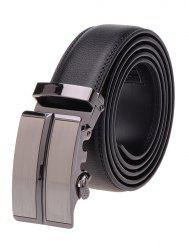 Door Like Metal Auto Buckle Leather Belt - BLACK