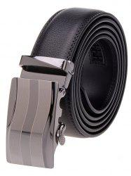 Wavy Stripe Metal Auto Buckle Leather Belt - BLACK