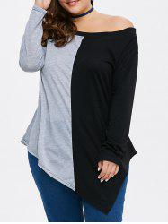 Color Block Asymmetric Plus Size Top