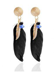 Ethnic Alloy Feather Drop Earrings - BLACK