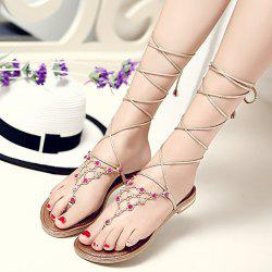 Flip Flop Styling Metallic Lace Up Flat Sandal - GOLDEN