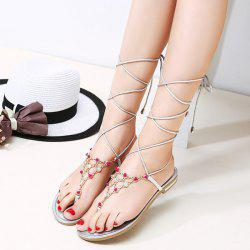 Flip Flop Styling Metallic Lace Up Flat Sandal - SILVER