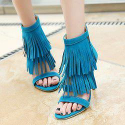Zipper Stiletto Heel Fringe Sandals