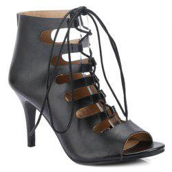 Stiletto Heel Lace Up Bootie Sandals