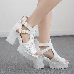 Double Buckle Straps Platforn Sandals - WHITE