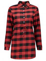 Button Drawstring Waist Tartan Shirt Dress