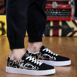 Line Printed Suede Casual Shoes