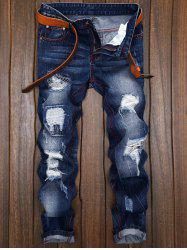 Ripped and Repaired Straight Leg Slim Fit Jeans - DENIM BLUE