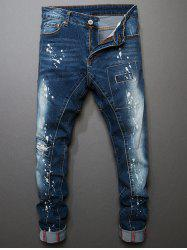 Bleach Wash Straight Leg Painted Ripped Jeans