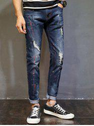 Colored Peint Ripped Skinny Jeans -