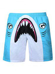 Shark Print Swim Shorts - BLUE AND WHITE