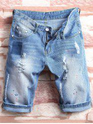 Color Painted Ripped Jean Shorts - DENIM BLUE