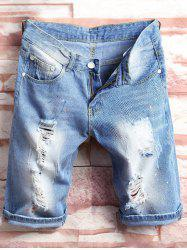 Paint Splatter Destroyed Denim Shorts - DENIM BLUE