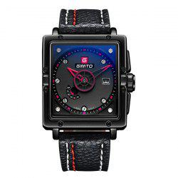 GIMTO Faux Leather Square Quartz Watch