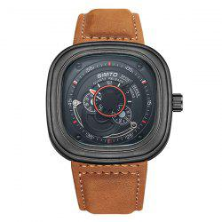 GIMTO Faux Leather Square Analog Watch
