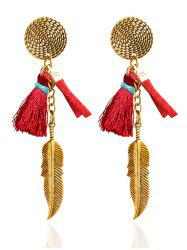 Vintage Feather Tassel Drop Earrings