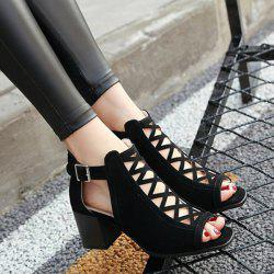 Hollow Out Suede Block Heels Sandals - BLACK