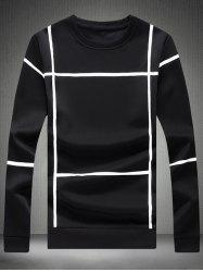 Crew Neck Long Sleeve Grid Tee