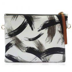 Wristlet Ink Paint Clutch Bag - WHITE AND BLACK