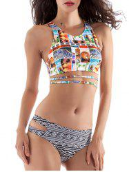 High Neck Cut Out Racerback Bikini