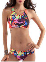 3D Animal Print Racerback High Neck Bikini