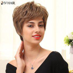 Siv Hair Short Layered Fluffy Oblique Bang Straight Human Hair Wig