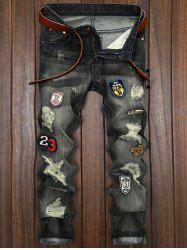 Patched Destroyed Straight Leg Jeans