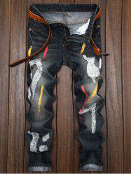 Colored Painted Destroyed Straight Leg Jeans - BLACK