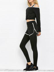 Sport Bra and Crop Top With  Leggings Three Piece Sets - BLACK