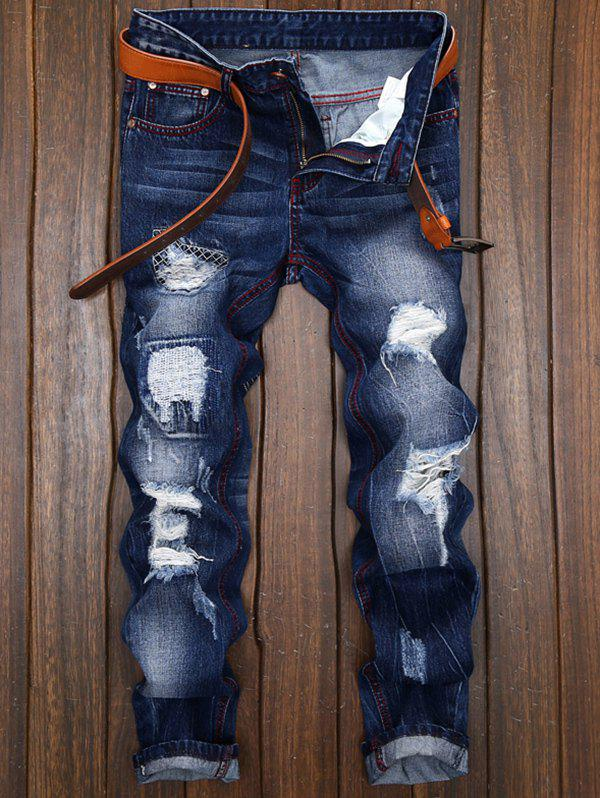 Patches Straight Leg JeansMEN<br><br>Size: 32; Color: DENIM BLUE; Material: Cotton,Jean; Pant Length: Long Pants; Fabric Type: Denim; Wash: Destroy Wash; Fit Type: Regular; Waist Type: Mid; Closure Type: Zipper Fly; Weight: 0.5360kg; Pant Style: Straight; Package Contents: 1 x Jeans; With Belt: No;