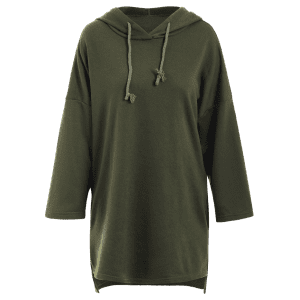 Drop Shoulder Long Pullover Hoodie -