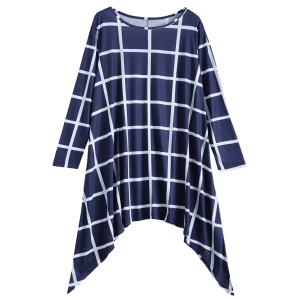 Plus Size Asymmetrical Plaid Long Sleeve Dress -