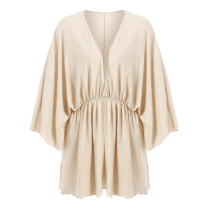 Plunging Neck Batwing Sleeve Romper -