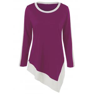 Asymmetric Long Sleeve Ringer T-Shirt