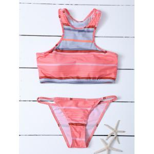 Stripe Racer Back Padded Tankini Bathing Suit