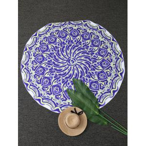 Floral Oil Painting Round Beach Throw
