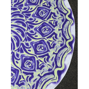 Floral Oil Painting Round Beach Throw - BLUE VIOLET ONE SIZE